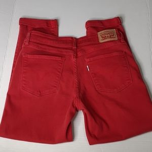 Levi's Mid-Rise Skinny Cropped Red Jeans Sz. 28